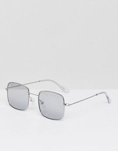 Солнцезащитные очки в квадратной металлической оправе с дымчатыми стеклами ASOS - Серебряный