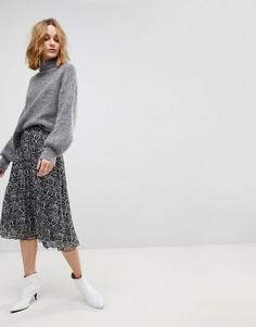 Плиссированная юбка миди с принтом Resume Adriana - Черный Résumé