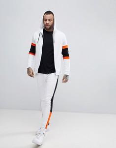 Спортивный костюм с худи на молнии и джоггерами скинни в стиле колор блок ASOS - Белый