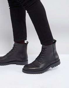 Черные кожаные ботинки на шнуровке Zign - Черный