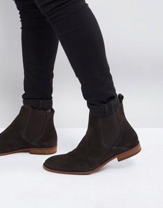 Коричневые замшевые ботинки челси Zign - Коричневый