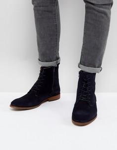 Темно-синие замшевые ботинки на шнуровке Zign - Темно-синий