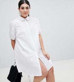 Хлопковое свободное платье-рубашка мини ASOS DESIGN Curve - Белый
