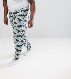 Пижамные брюки с принтом динозавров ASOS DESIGN Plus - Серый