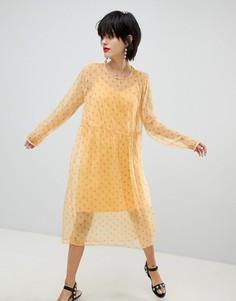 Платье с цветочным принтом Pieces - Желтый