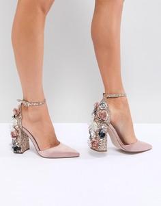 Туфли на высоком каблуке с декоративной отделкой ASOS DESIGN - Бежевый