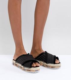 Черные атласные сандалии на платформе SixtySeven Adiva - Черный