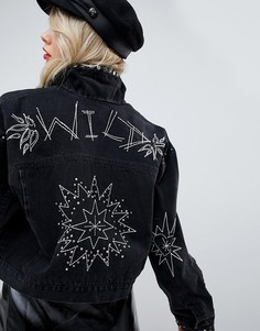 Черная выбеленная джинсовая куртка с заклепками и вышивкой ASOS DESIGN - Черный