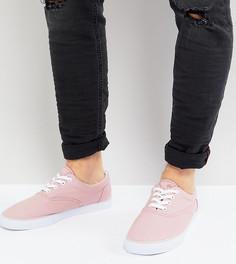 Розовые парусиновые кеды для широкой стопы на шнуровке ASOS - Розовый
