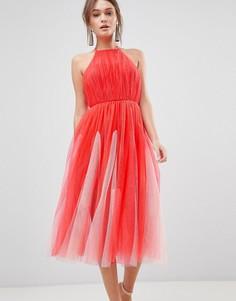 Платье миди из тюля с халтером и юбкой годе ASOS DESIGN - Розовый