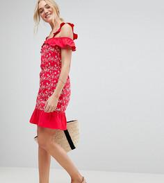Сарафан с открытыми плечами и вышивкой ришелье ASOS TALL - Красный