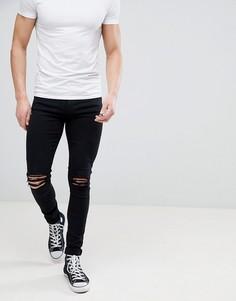 Черные джинсы скинни с рваной отделкой Dr Denim Leroy - Черный