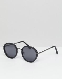 Круглые солнцезащитные очки в черной матовой оправе ASOS - Черный