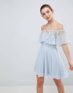 Декорированное приталенное платье-бандо мини ASOS DESIGN - Мульти