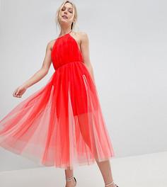 Премиум-платье миди из тюля с американской проймой ASOS DESIGN Tall - Розовый