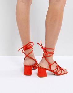 Оранжевые босоножки на среднем каблуке Public Desire Freya - Оранжевый