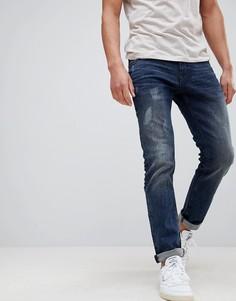 Состаренные джинсы узкого кроя Tom Tailor - Синий