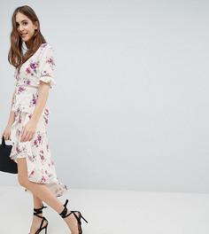 Юбка с винтажным цветочным принтом, запахом и асимметричной оборкой Fashion Union Tall - Белый