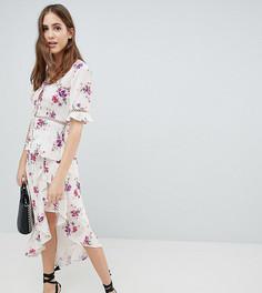 Чайная блузка с винтажным цветочным принтом и ажурной отделкой Fashion Union Tall - Белый