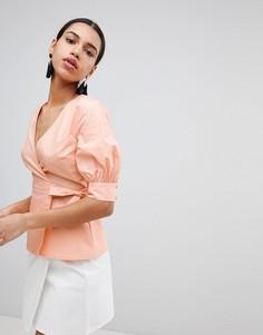 Топ с запахом и пышными рукавами Fashion Union - Оранжевый