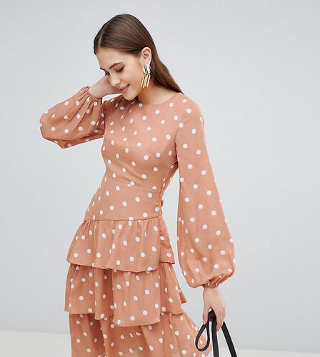 Платье миди в винтажный горошек с открытой спиной и ярусной юбкой Fashion Union Tall - Оранжевый