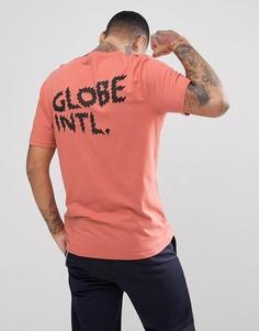 Коралловая футболка с принтом на спине Globe Zap - Оранжевый