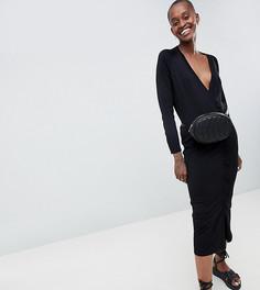 Трикотажное платье с пуговицами ASOS WHITE - Черный