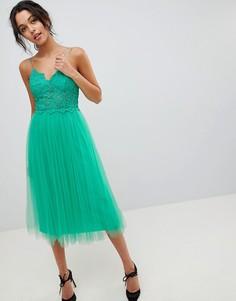 Платье миди с кружевным топом на бретелях ASOS DESIGN premium - Зеленый