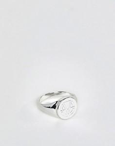 Серебристое кольцо-печатка с эмалированным логотипом Chained & Able - Серебряный