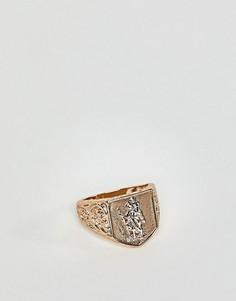 Золотистое кольцо с печаткой и дизайном Святой Христофор Chained & Able - Золотой