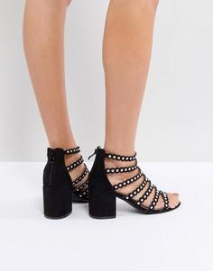 Черные сандалии на блочном каблуке с заклепками RAID Maria - Черный