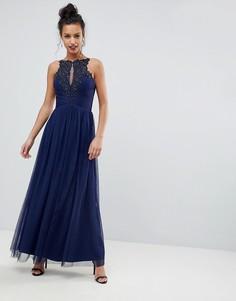 Платье макси с высоким воротом и аппликацией Little Mistress - Темно-синий