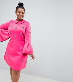 Платье-трапеция мини ASOS DESIGN Curve - Розовый