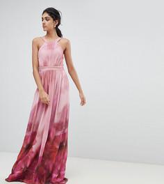 Платье макси с высоким воротом и цветочным принтом Little Mistress Tall - Мульти