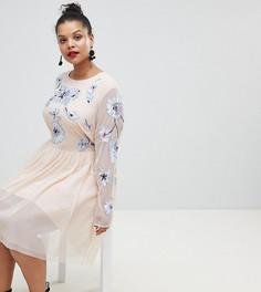 Платье мини из тюля с вышивкой ASOS DESIGN Curve - Розовый