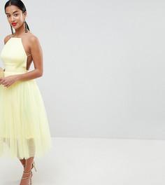Платье миди из тюля ASOS DESIGN Petite - Желтый