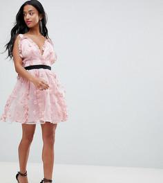 Платье мини для выпускного с цветочной аппликацией ASOS DESIGN Petite - Розовый