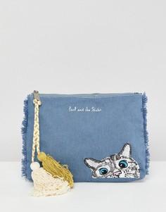 Джинсовый клатч с кошачьей мордочкой Paul & Joe Sister - Синий
