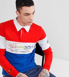 Красная футболка-поло в стиле колор блок с длинными рукавами ellesse - Красный