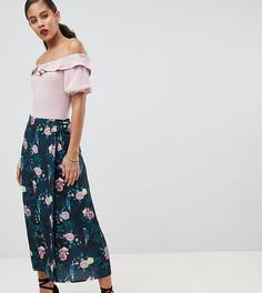 Юбка миди с запахом и цветочным принтом Fashion Union Tall - Мульти