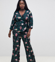 Широкие брюки из комплекта с цветочным принтом Fashion Union Plus - Мульти