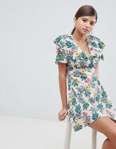 Чайное платье с рукавами клеш и тропическим принтом Fashion Union - Мульти