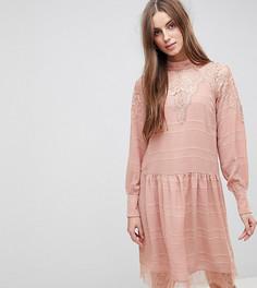 Свободное платье с кружевной отделкой Y.A.S Tall - Розовый