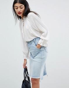 Джинсовая юбка миди с необработанными краями Pepe Jeans - Синий
