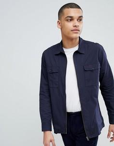 Куртка в стиле рубашки на молнии Selected Homme - Темно-синий