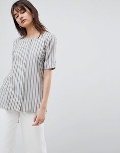 Блузка в полоску с отворотами на рукавах Selected - Мульти