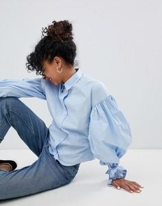 Блузка с пышными рукавами Monki - Синий