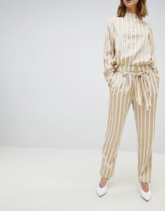 Широкие брюки в полоску с поясом Selected - Мульти