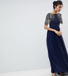Платье макси с отделкой Virgos Lounge Tall Lena - Темно-синий