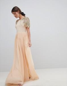 Платье макси с отделкой Virgos Lounge Lena - Розовый